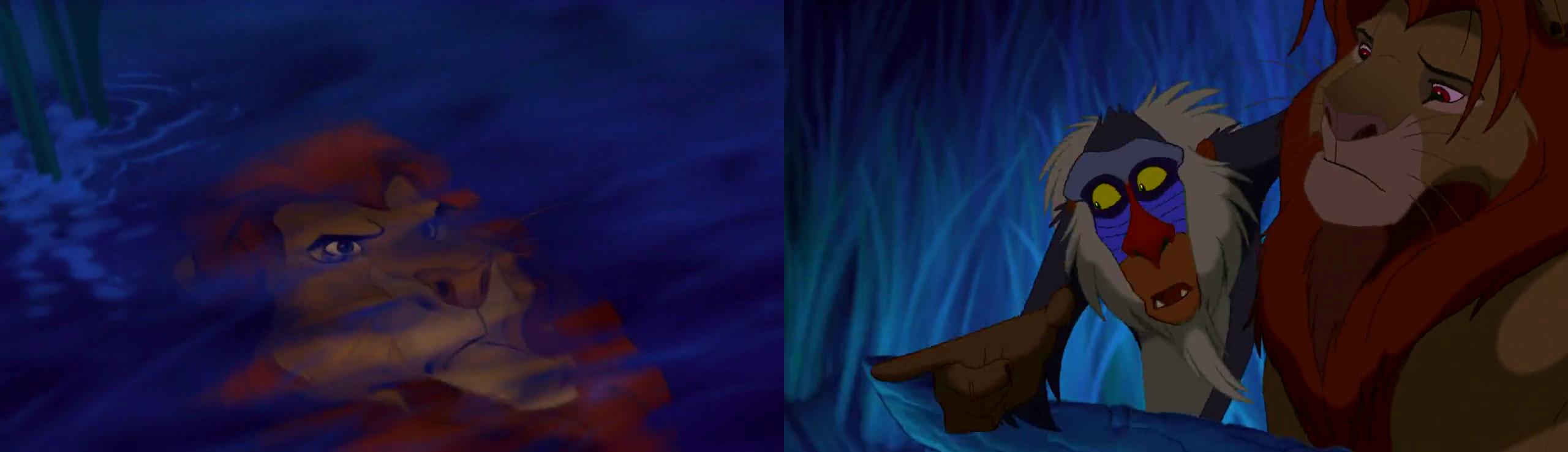 Simba ser Mufasa i vattenytan