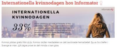 Utbildningsföretaget Informator PK-signalerar och sprider myter om att kvinnor jobbar gratis