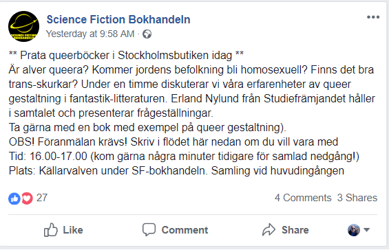 Science Fiction Bokhandeln åker in på PK-listan